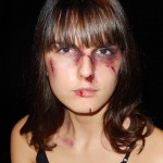 Domestic abuse make-up for Rose Hunter's music video Black and Blue