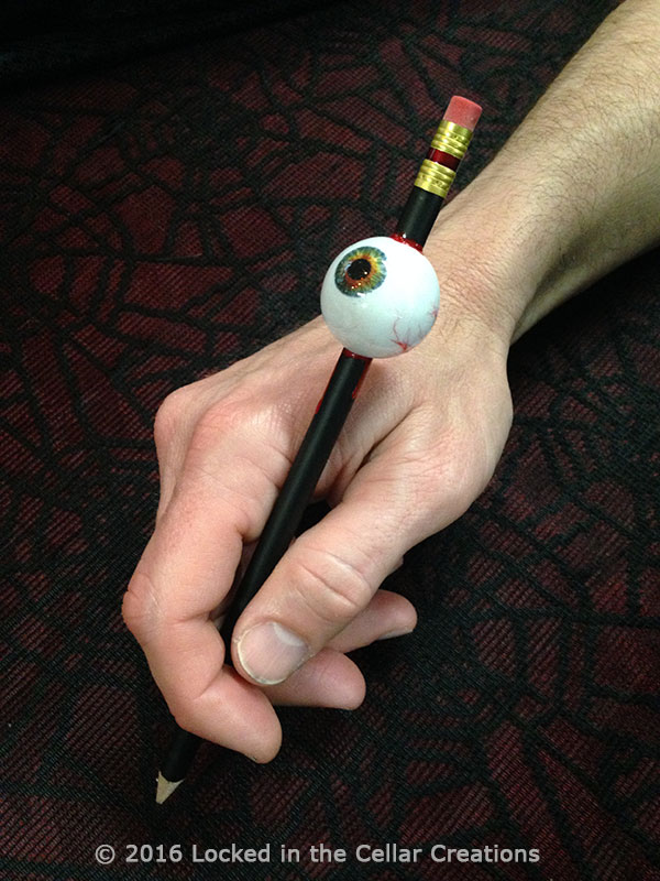 Bloody Horror Eyeball Pencil in hand