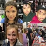 Painless injuries are quick little make-ups that we apply at events. Kids love scaring people with their broken noses or bullet wounds!