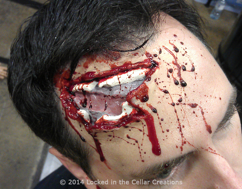 Realistic Forehead Shot Wound SFX Injury Make-up