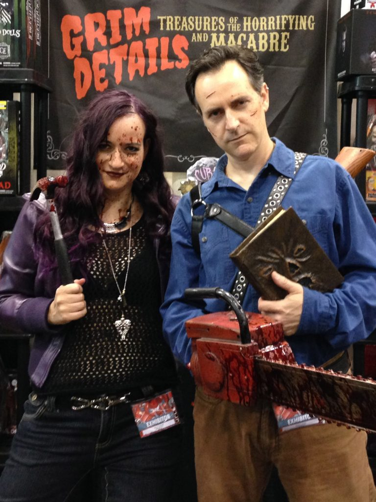 Desiree & Brian cosplaying in full costume as Kelly and Ash from Ash vs. Evil Dead