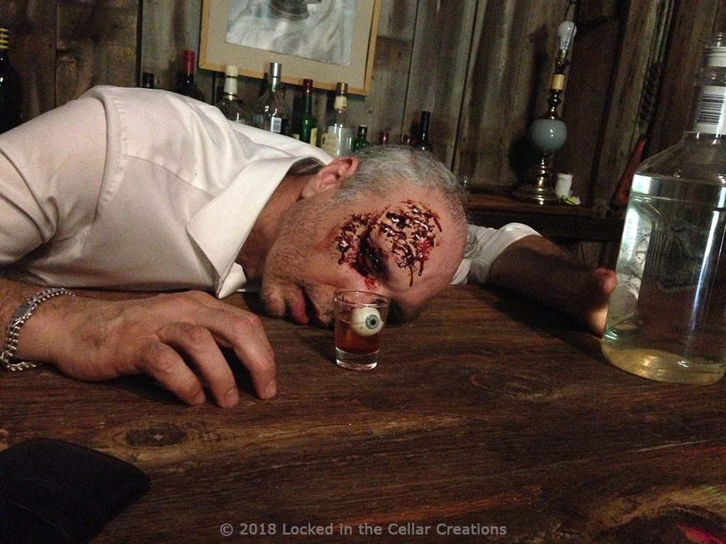 SFX make-up on Producer Chris with eyeball in shot glass