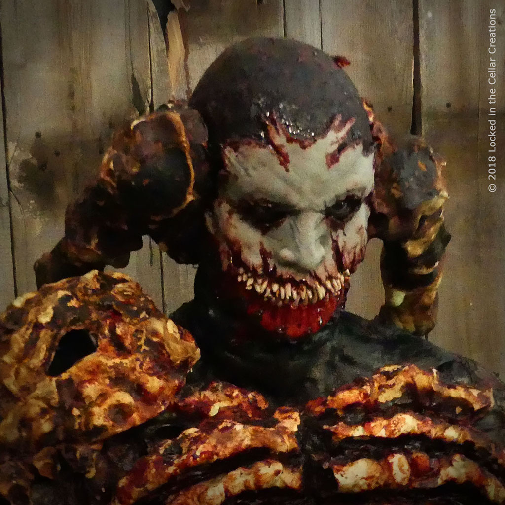 Close-up of the 4-piece Belial make-up we designed for Beyond Hell.