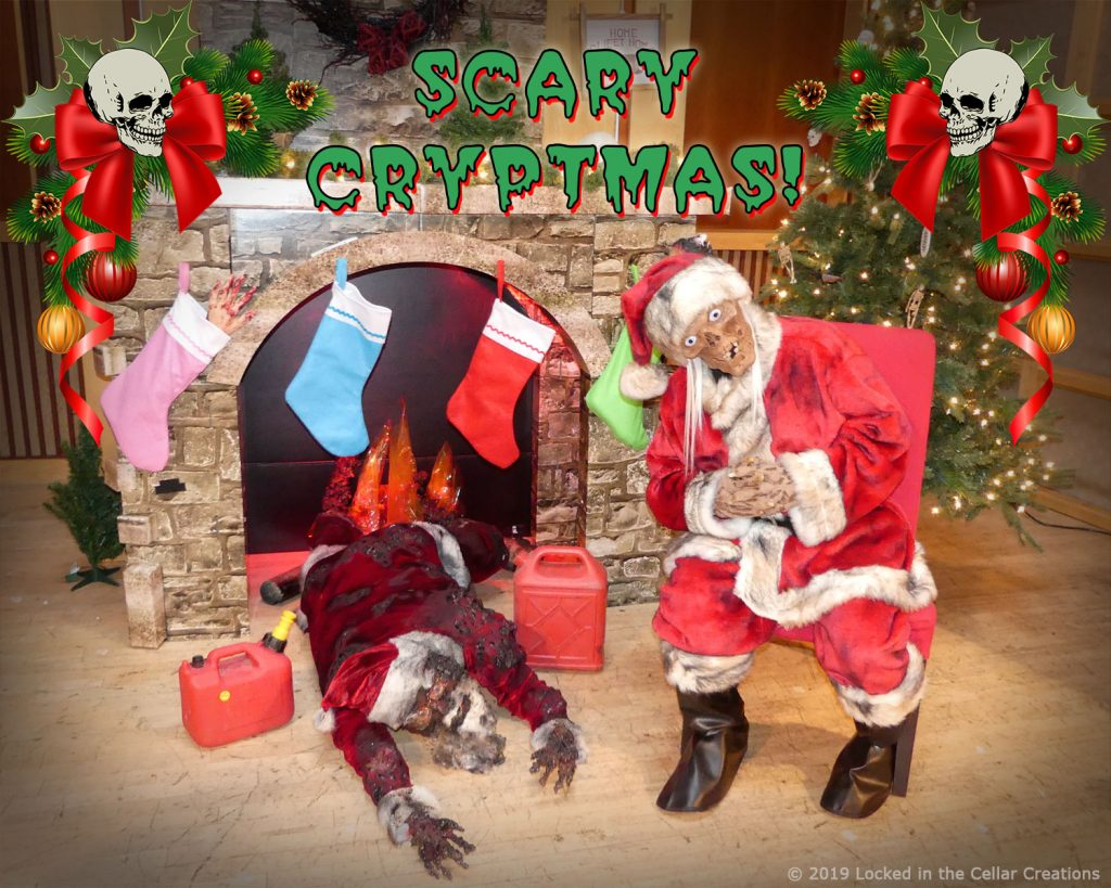 "Our ""Scary Cryptmas"" Horror Christmas Photo Experience features a fire place, Santa's Corpse, gasoline canisters and our actor as Crypt Kringle."