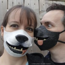 Dog face masks are available in black and white