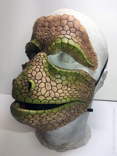The mask & prosthetic are is made out of a flexible latex that will form to your face