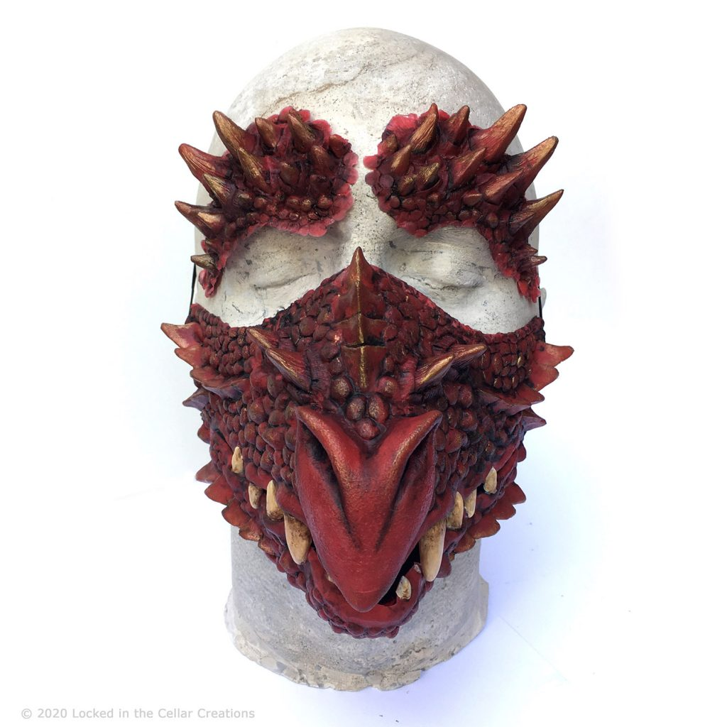 The Deluxe Dragon Face mask and makeup combos come with two matching forehead prosthetics to complete the dragon look!